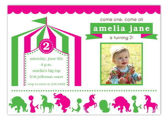 Pink and Green Circus Photo Invitation