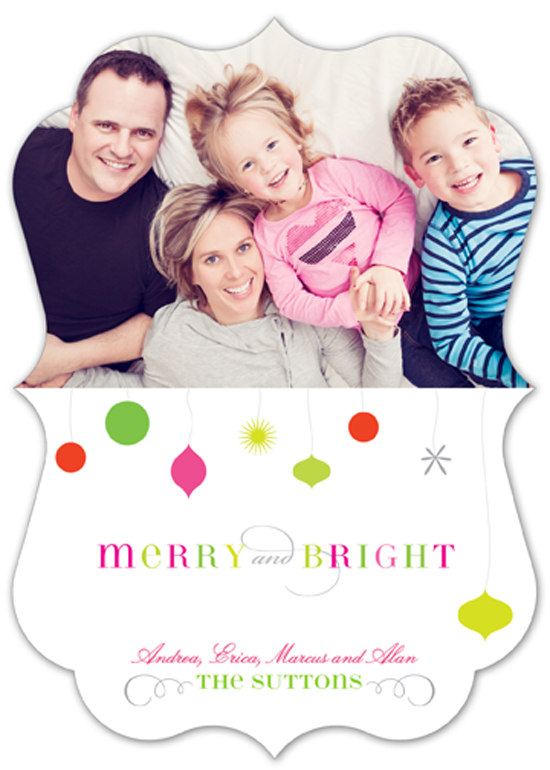 Pink and Green Merry + Bright Photo Card