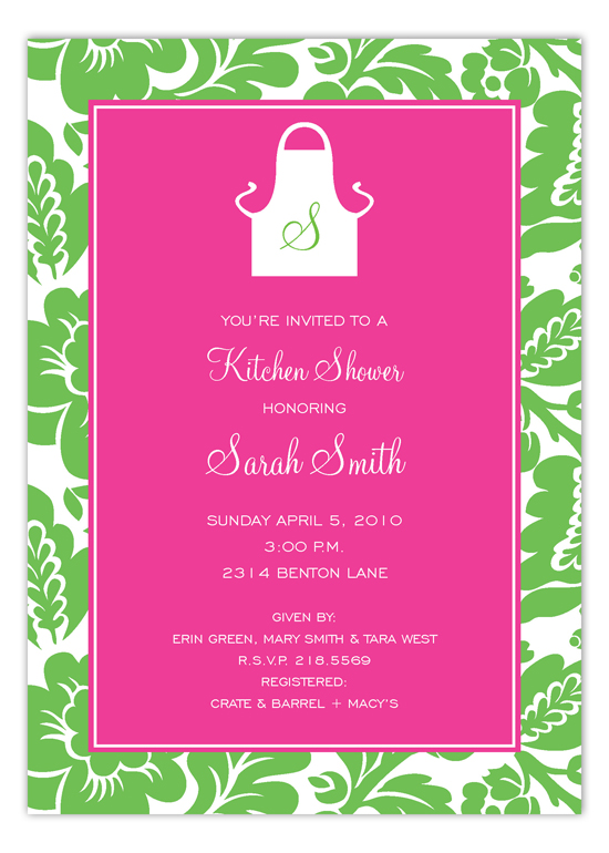 Pink and Green Monogram Apron Invitation
