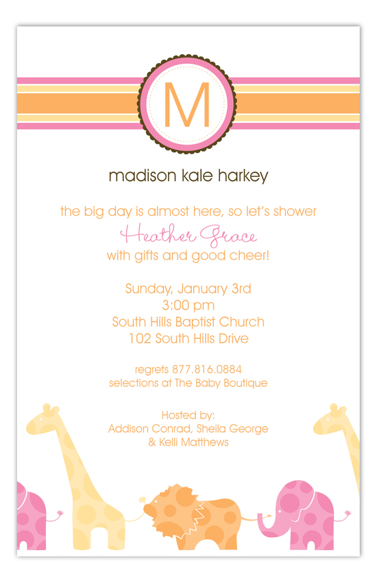 Pink Animal Monogram Invitation