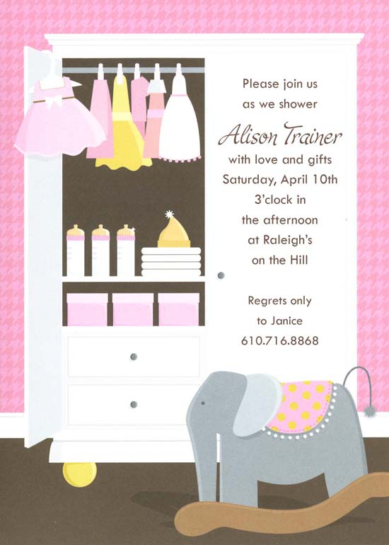 Pink Baby Armoire Invitation