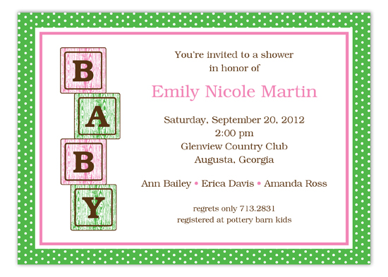 Pink Baby Blocks Shower Invitation