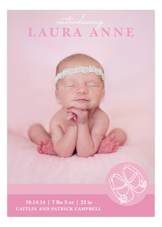 Pink Baby Shoes Photo Birth Announcement