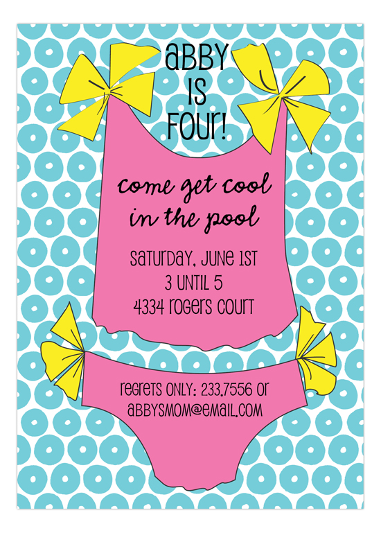 Pink Bathing Suit Invitation