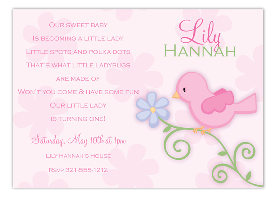 Pink Birdie Invitation