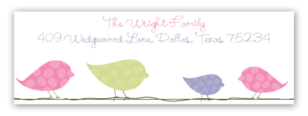 Pink Birds on a Wire Address Label