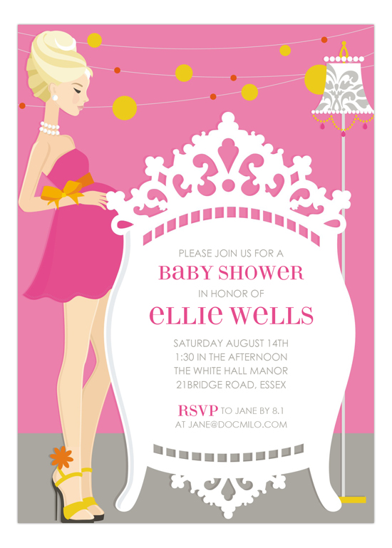 Pink Blonde Classic Crib Mama Invitation