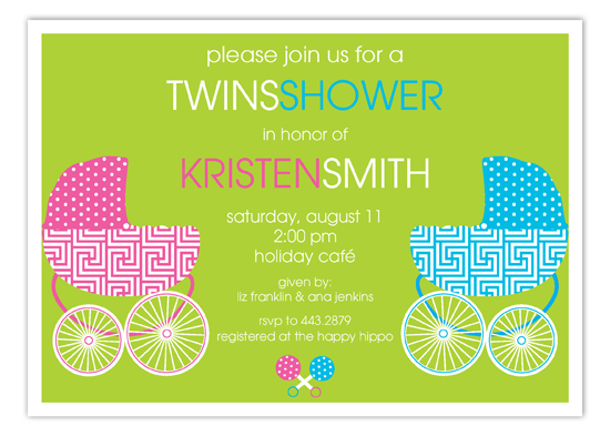 Pink & Blue Twin Buggies Invitation