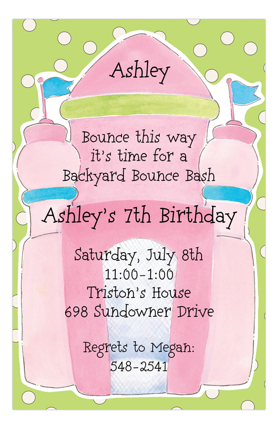 Pink Bounce House Invitation