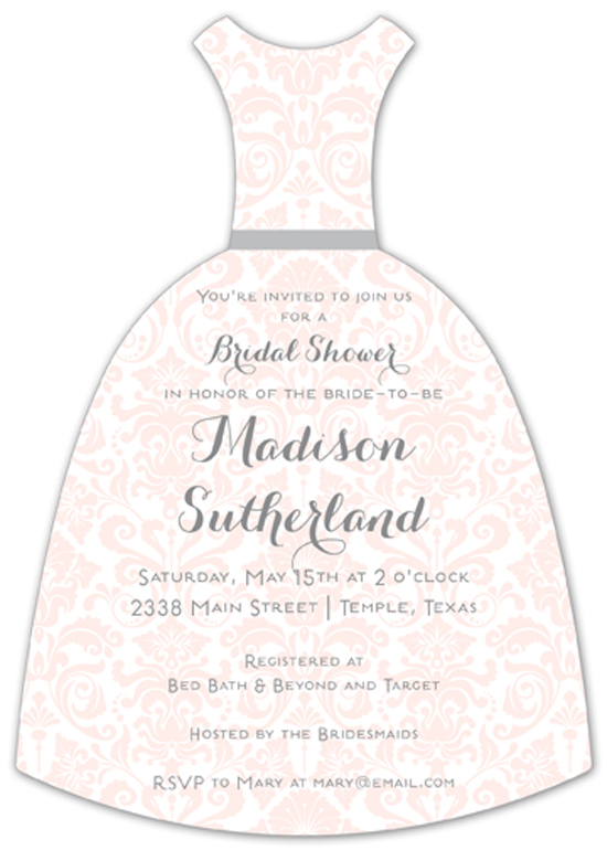 Pink Bridal Damask Invitation