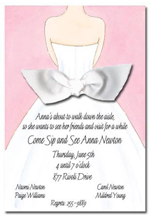 Pink Bridal Dress Invitation