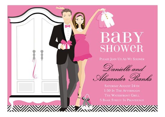 Pink Brunette Armoire Baby Shower Invitation