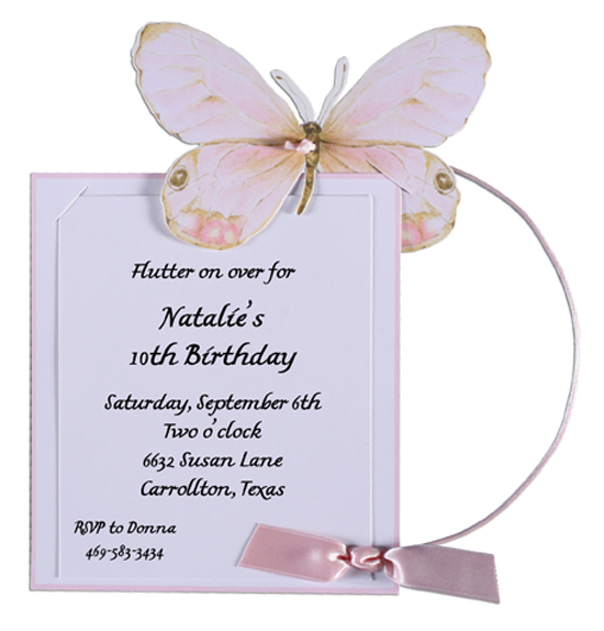Pink Butterfly Birthday Party Invitations