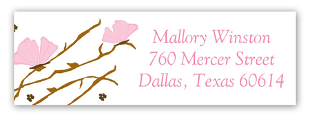Pink Butterfly Landing Address Label