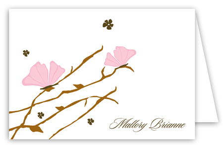 Pink Butterfly Landing Folded Note Card