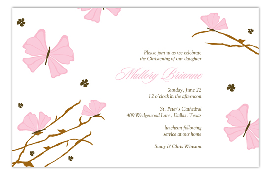 Pink Butterfly Landing Invitation