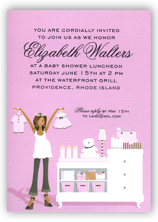 Pink Changing Table African American Invitation