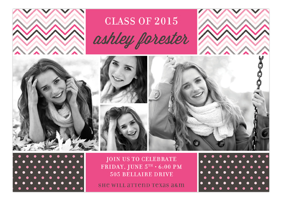 Pink Chevron Dots Grad Photo Card