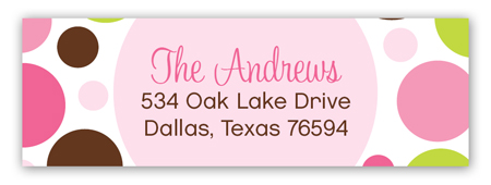 Pink Chocolate Lime Dots Address Label