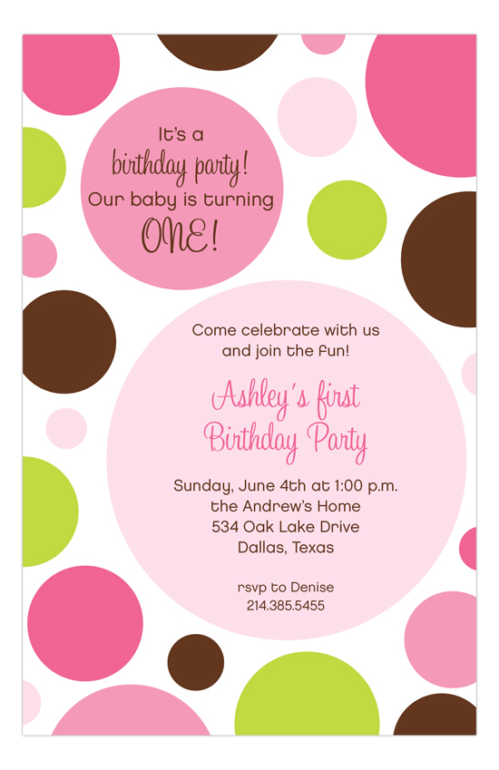 Pink Chocolate Lime Dots Invitation
