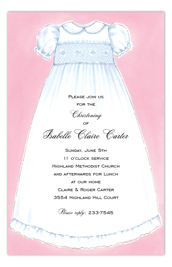 Pink Christening Gown Invitation