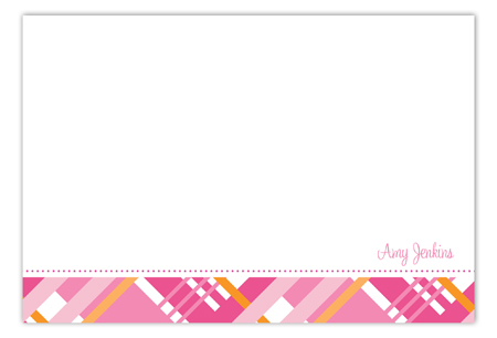 Pink Classic Plaid Flat Note Card