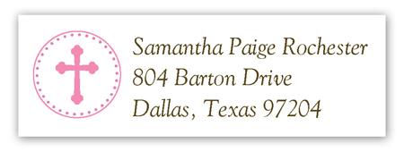 Pink Cross Pendant Return Address Labels