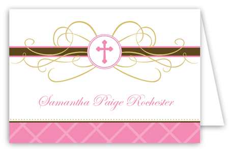 Pink Cross Pendant Folded Note Card