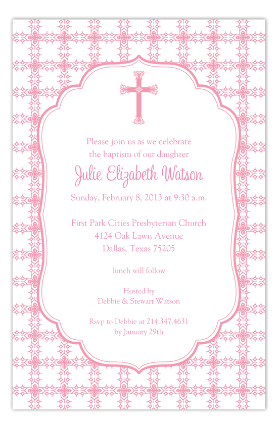 Pink Cross Tile Pattern Baptism Invitation Polka Dot Religious