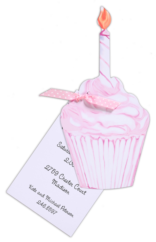 First Birthday Pink Cupcake Invitation
