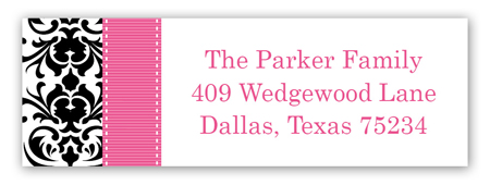 Pink Damask Personalized Return Address Labels