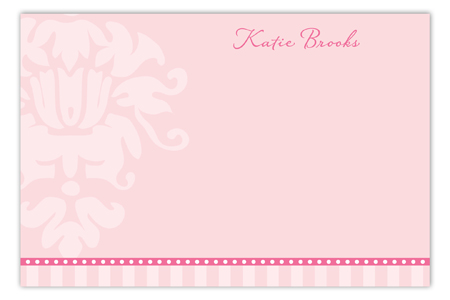 Pink Background with Damask Flat Personalized Note Card