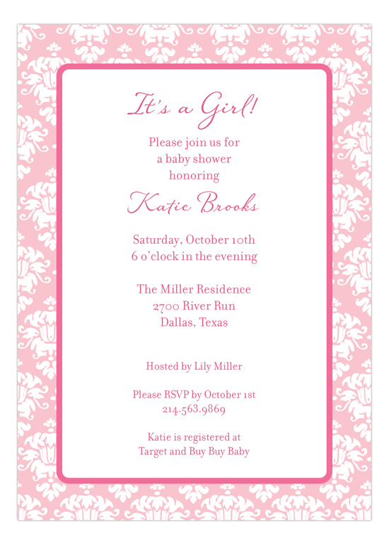 Pink Damask Invitation