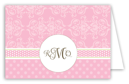 Pink Damask Monogram Folded Note Card