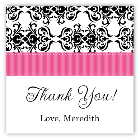 Pink Damask Square Sticker