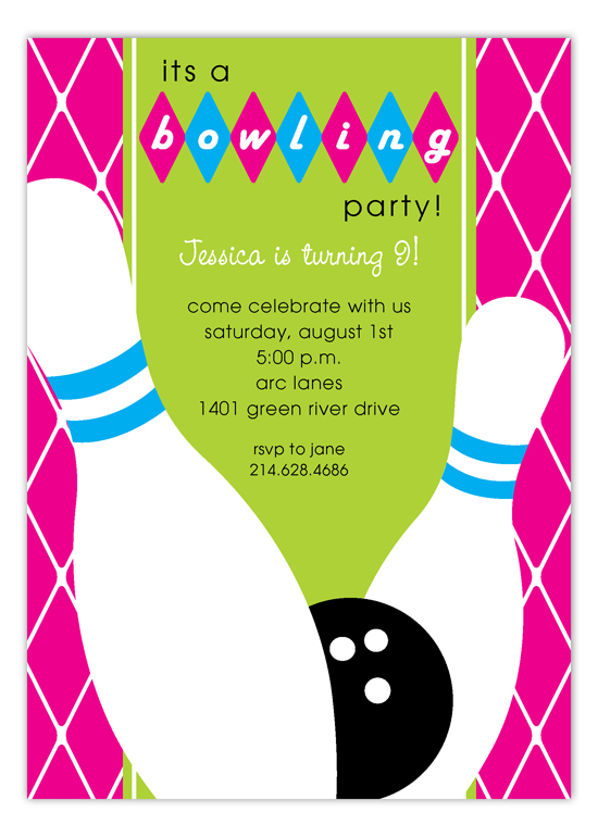 Pink Diamond Bowling Invitation  Retro Bowling Party