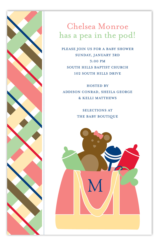 Pink Diaper Bag Invitation