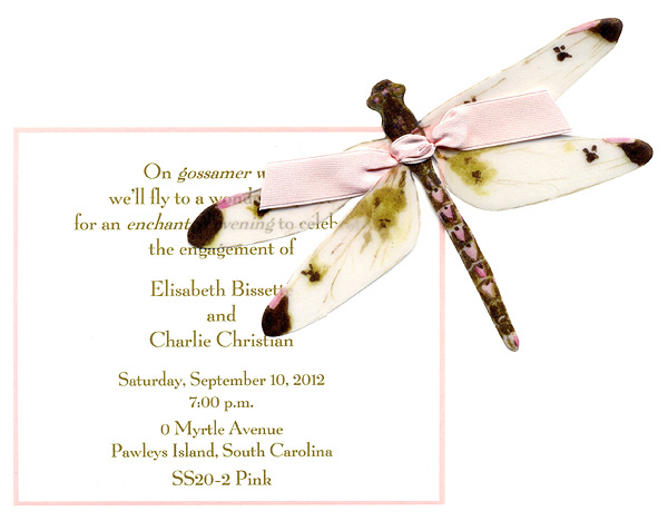 Pink Dragon Fly Invitation