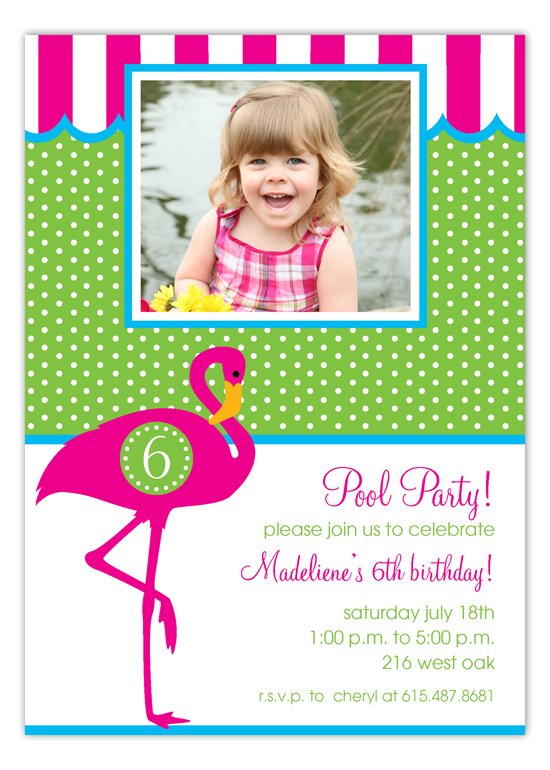 Pink Flamingo Photo Invitation