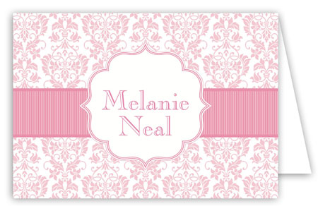 Pink Band Floral Damask Folded Custom Note Cards