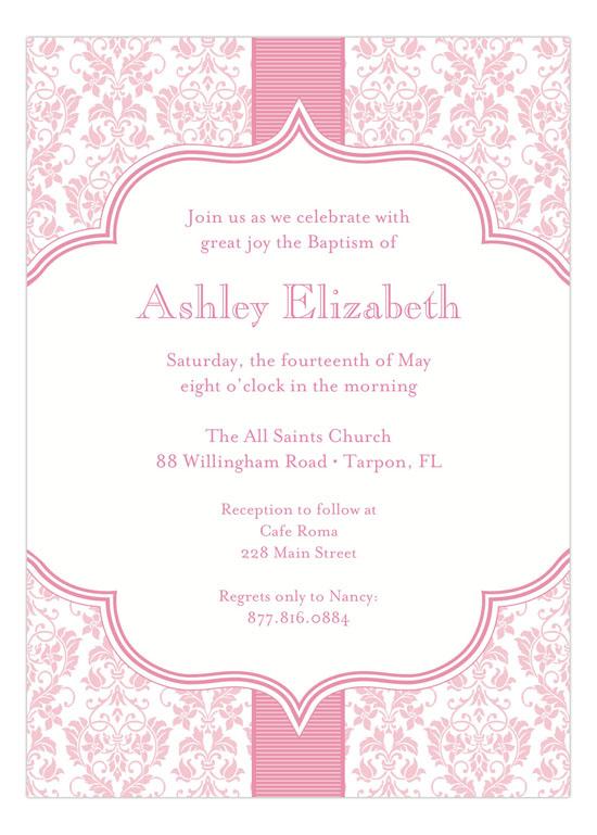 pink ribbon floral damask invitations baptism invites for girls