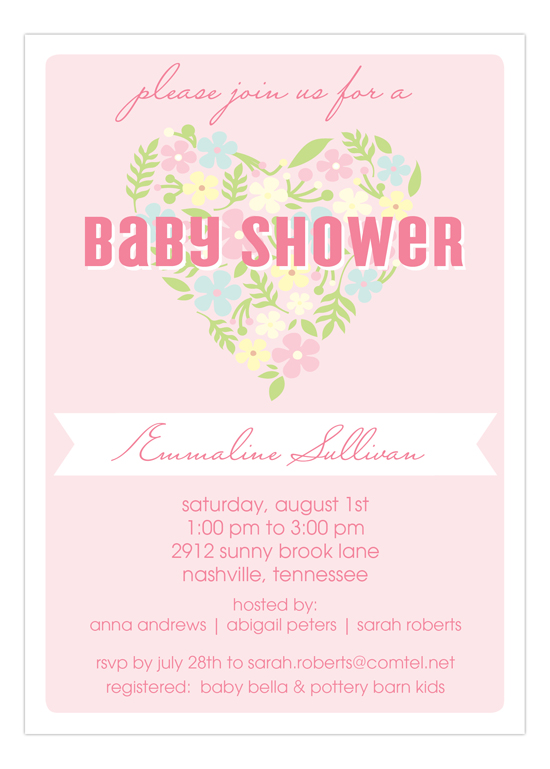 Pink Floral Heart Baby Shower Invitation