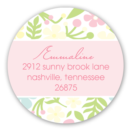 Pink Floral Heart Baby Shower Round Sticker