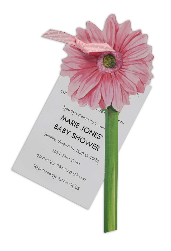 Pink Gerber Daisy Unique Baby Shower Invitations
