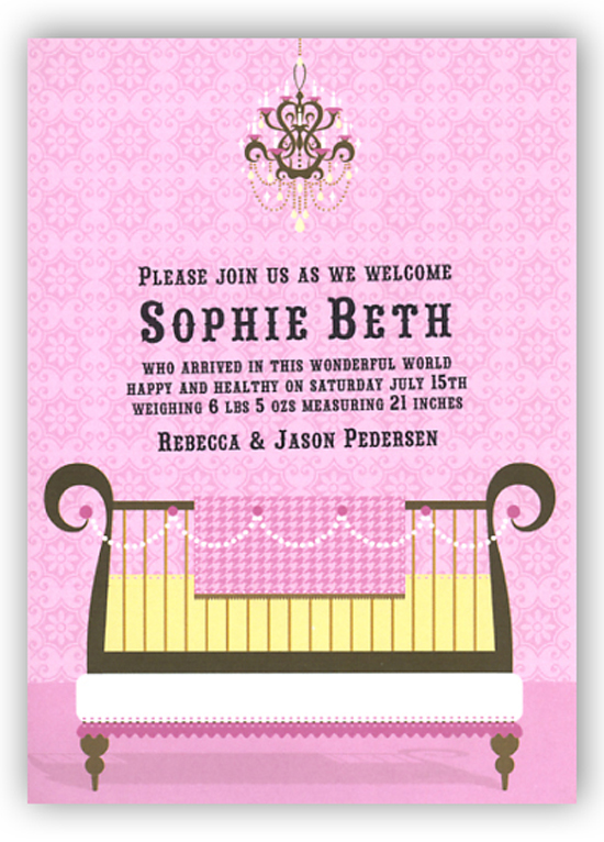 Pink Glamour Baby Crib Invitation Polka Dot Design