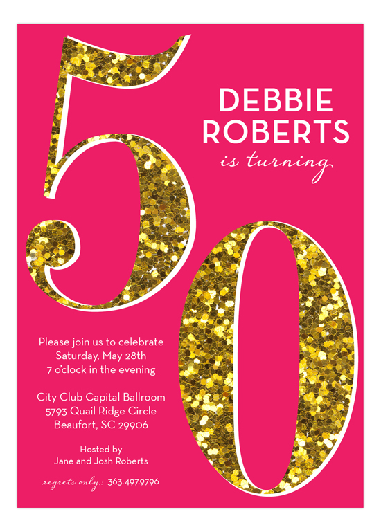 Pink Glitter 50th Birthday Invites