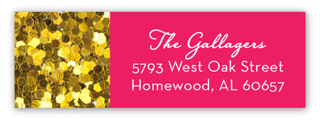 Pink Glitter Sixteen Address Label