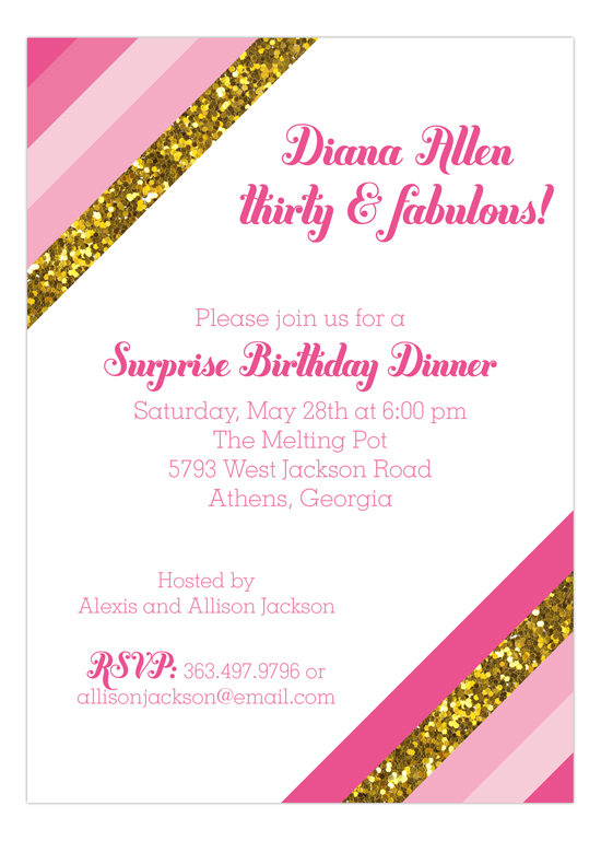 Pink Glitter Stripe Invitation