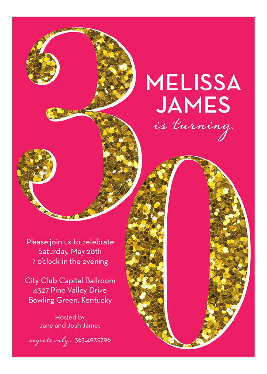 Pink Glitter Thirty Invitation