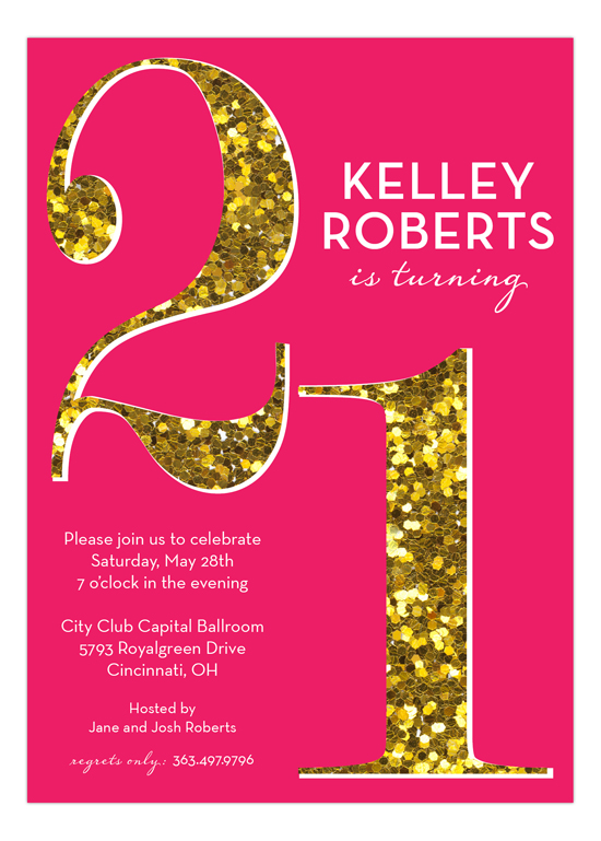 Pink Glitter Twenty-One Invitation